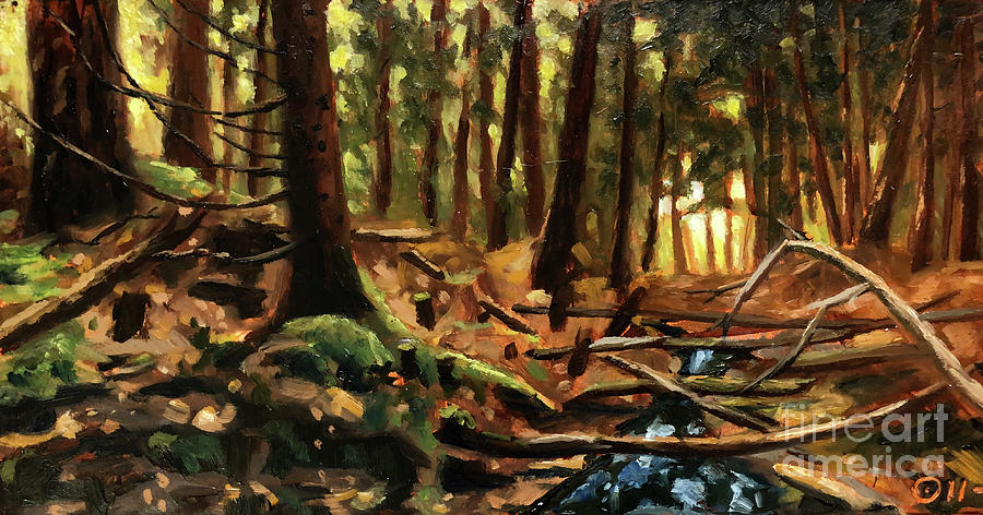 Bushcraft Solo Wilderness Painting by Ric Nagualero