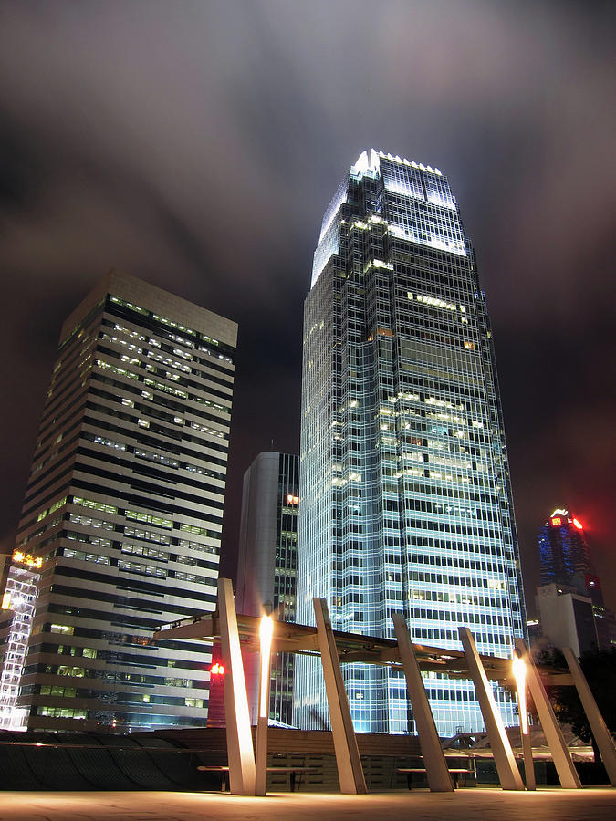 Business Buildings In Hong Kong At Night Photograph by Bluekite