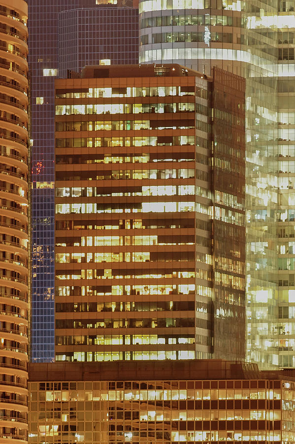 Business District At Evening Photograph by Christian Jacquet