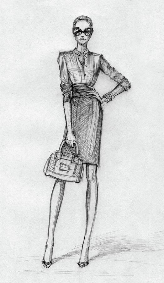 Business Woman Black-and-white Digital Art by Tatarnikova
