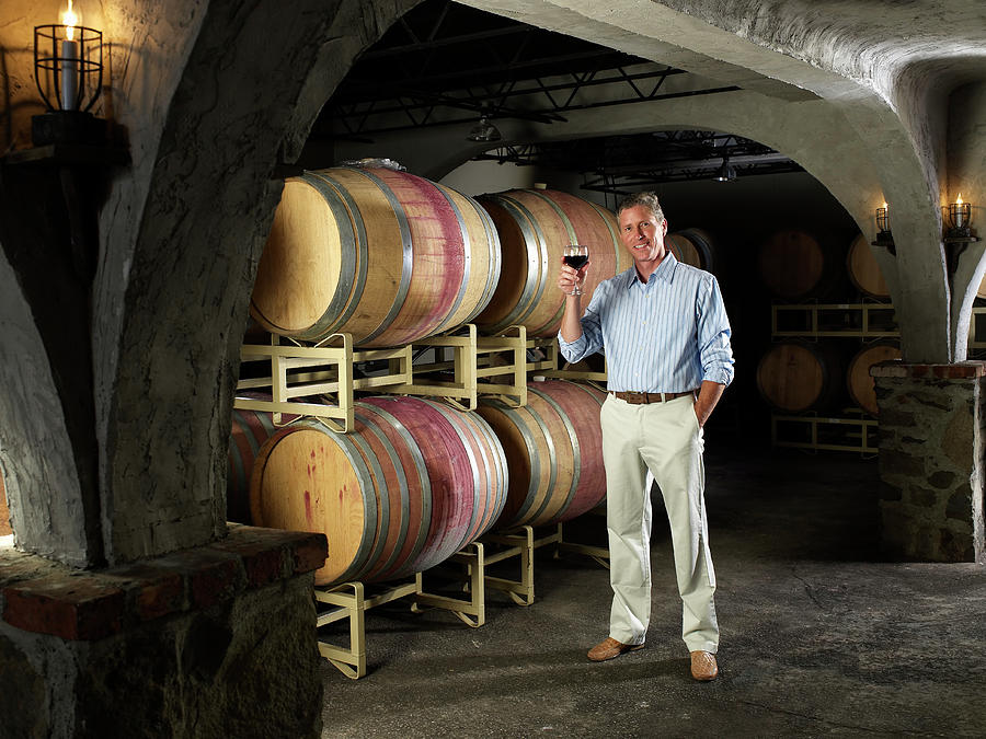 Businessman Holding Wine Glass In Cellar Photograph by Yellow Dog Productions