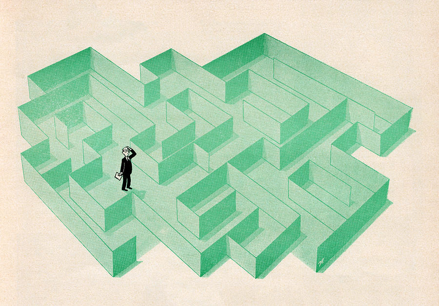 Confusion Digital Art - Businessman Trapped In Maze by Graphicaartis