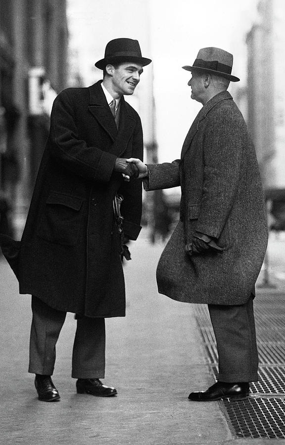 Businessmen Meeting On Street Photograph by George Marks