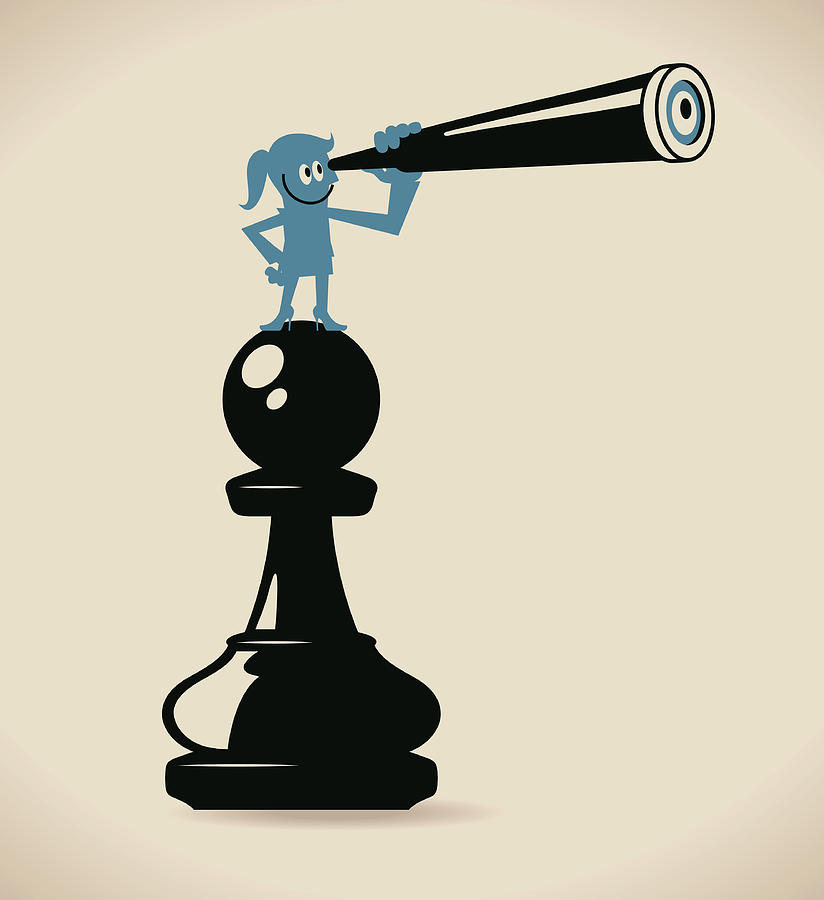 Businesswoman Standing On A Pawn Chess Digital Art by Alashi