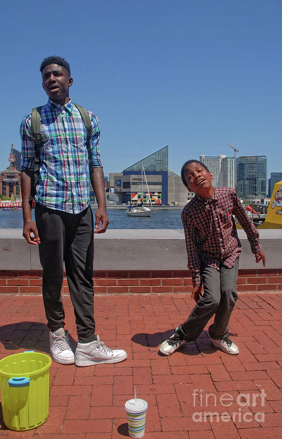 2 Bros. Busking On Baltimore's Inner Harbor 3 by Walter Neal