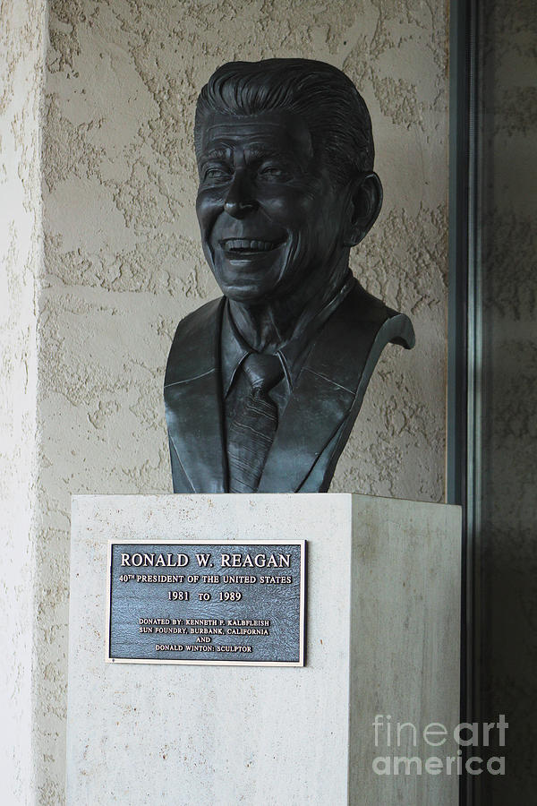 Bust of Ronald Reagan Outside of Library by Colleen Cornelius