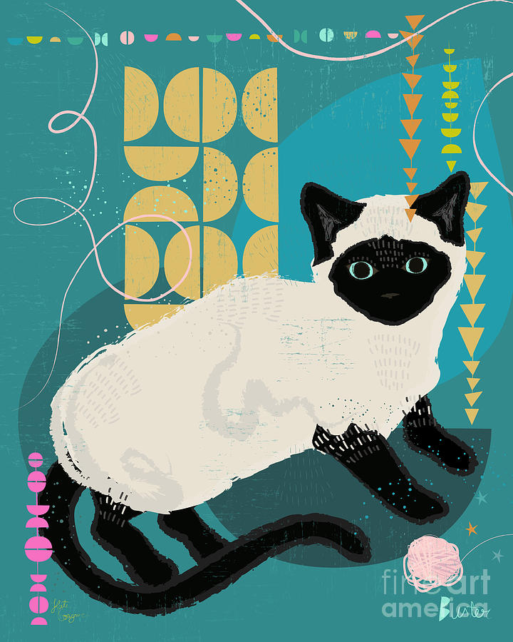 Cat Painting - Buster The Shelter Cat by Kate Cosgrove