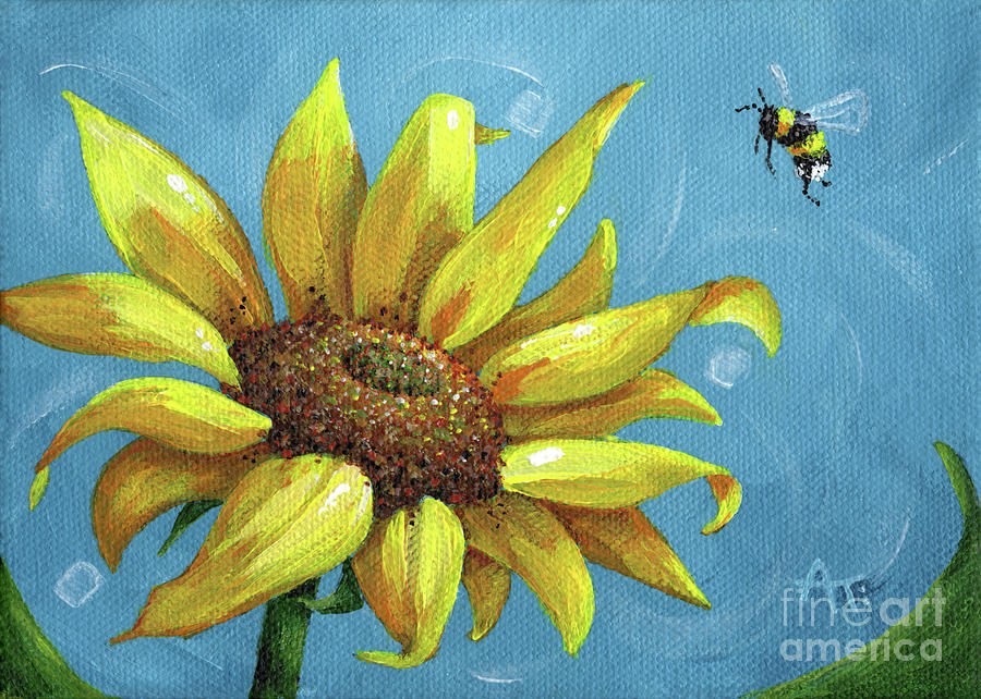 Busy Bee - Sunflower Painting by Annie Troe