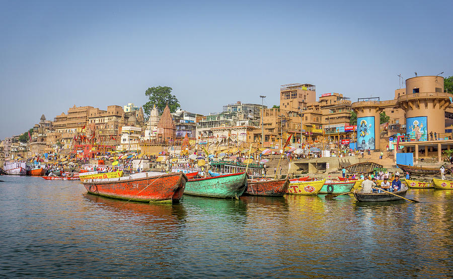 Busy Ghats Varanasi by Gary Gillette