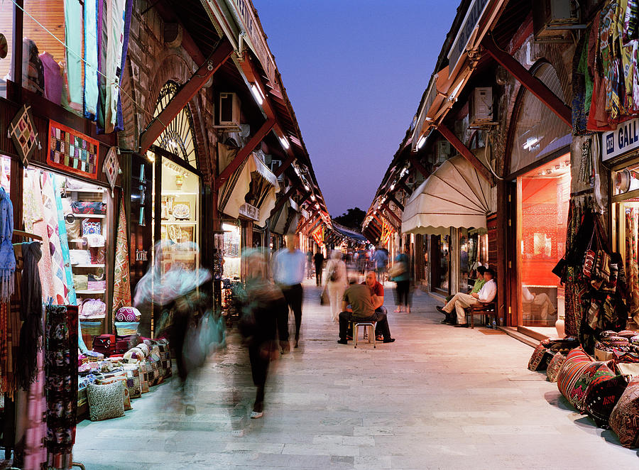 Busy Street Lined With Shops In Istanbul Photograph by Gary Yeowell