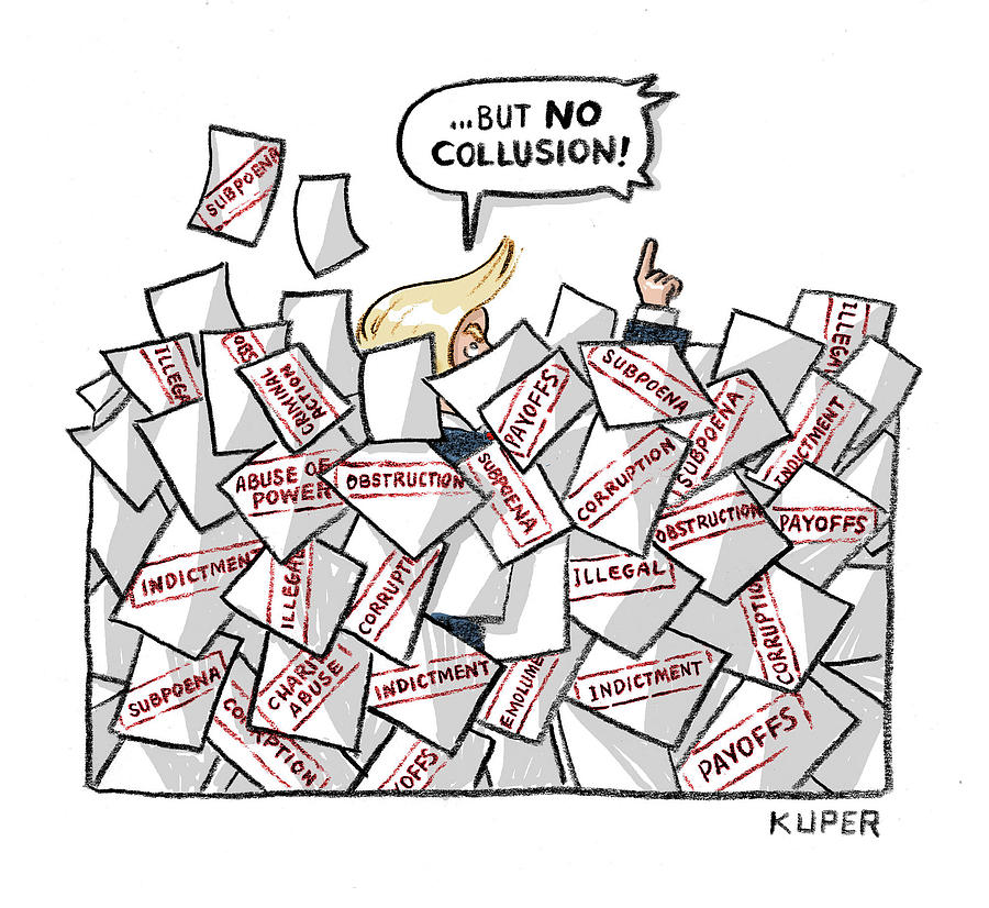 But No Collusion Drawing by Peter Kuper