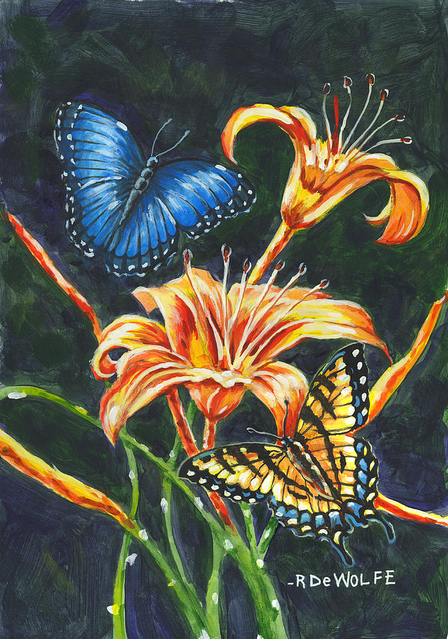 Butterflies And Flowers Sketch by Richard De Wolfe