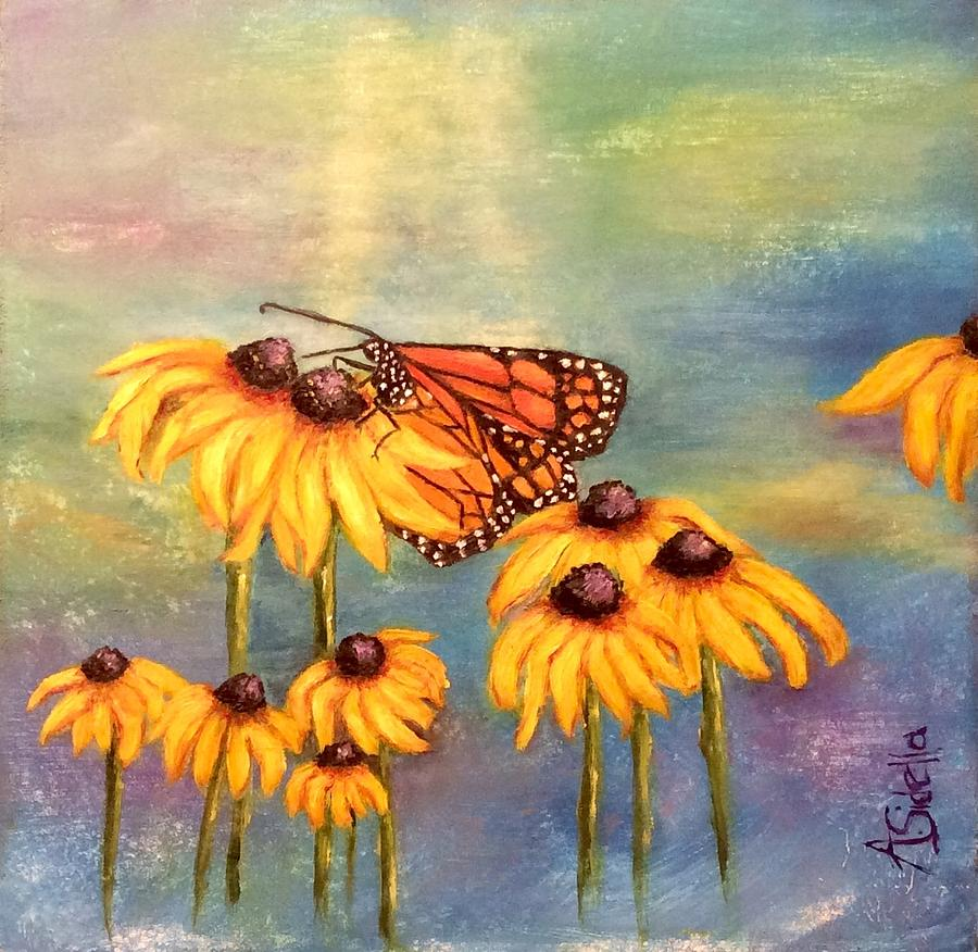 Butterfly and Flowers by Annamarie Sidella-Felts