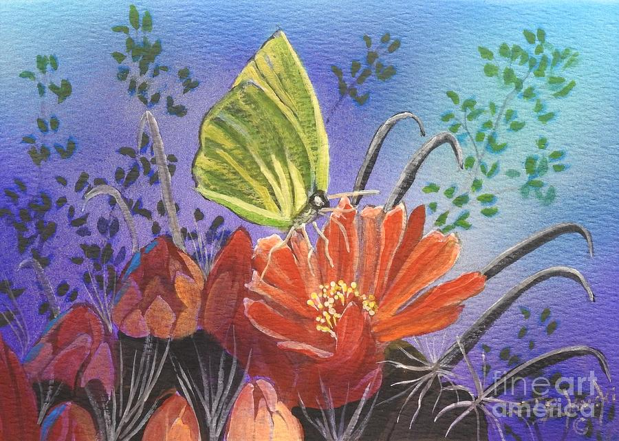 Cloudless Sulphur Painting - Butterfly Bliss by Jerry Bokowski