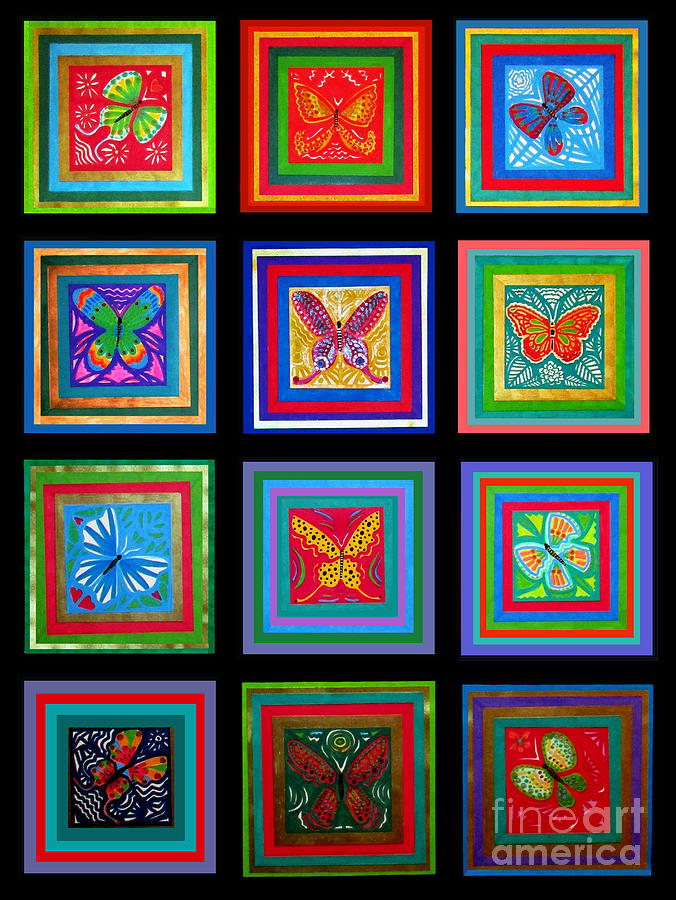 Butterfly Collage 1 Mixed Media by A Hillman