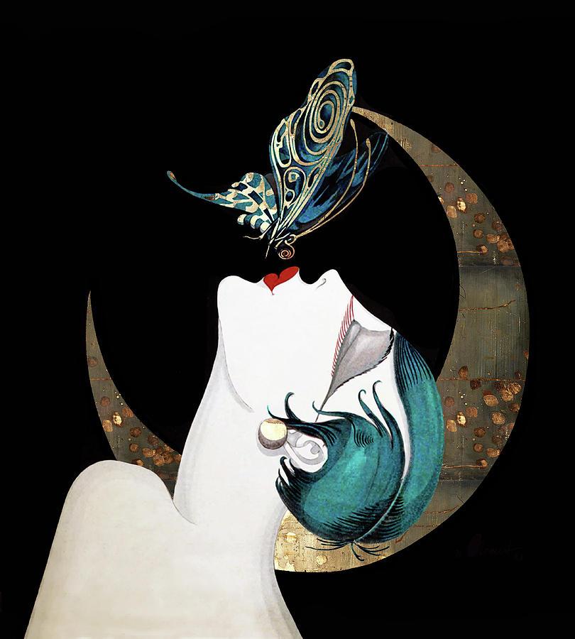 Butterflies Digital Art - Butterfly Kiss Art Deco Woman by Tina Lavoie