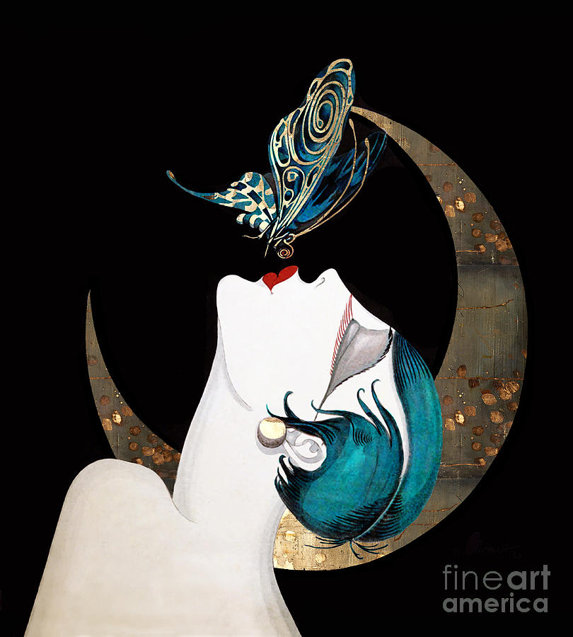 Beautiful Painting - Butterfly Kiss French Art Deco Woman Remix by Tina Lavoie