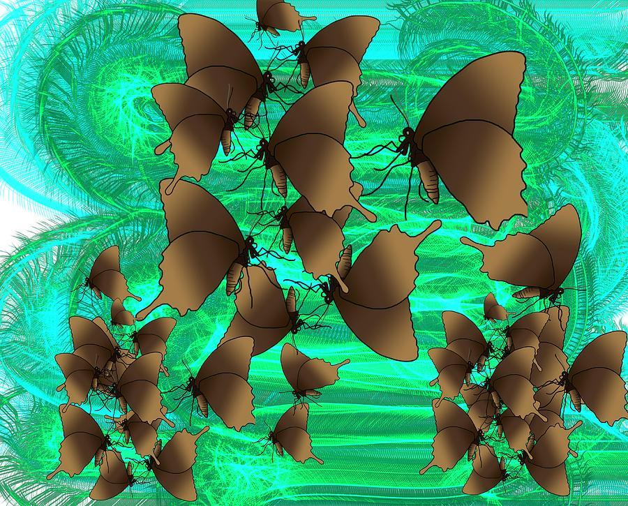 Stratton Digital Art - Butterfly Patterns 3 by Joan Stratton