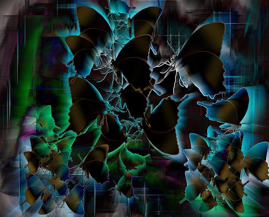 Stratton Digital Art - Butterfly Patterns 5 by Joan Stratton