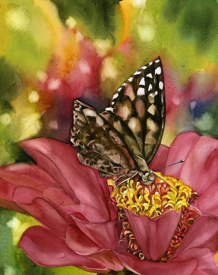 butterfly with zinnia by Alfred Ng