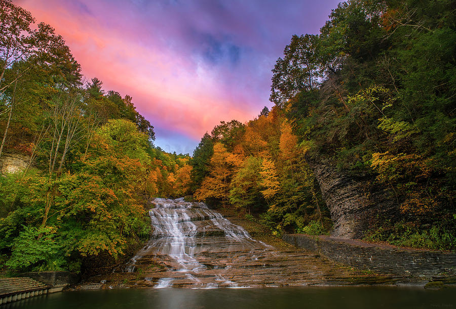 Buttermilk Falls At Sunset by Mark Papke