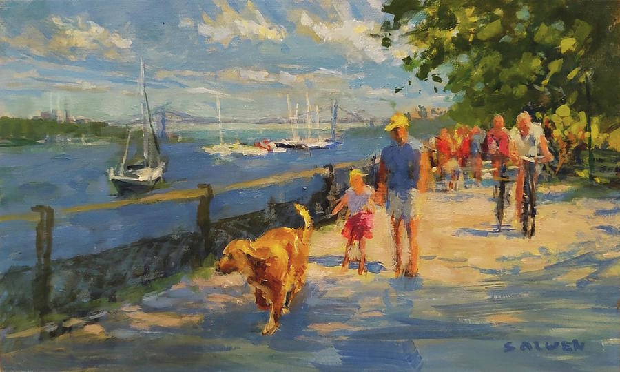New York Painting - By the River, Sunday Morning by Peter Salwen