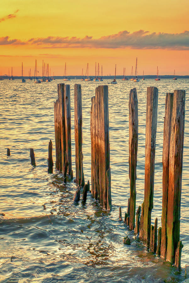 Byshore Pilings At Sunset by Gary Slawsky
