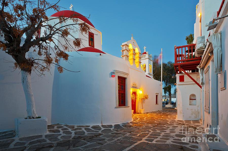 Cyclades Photograph - Byzantine Church In A Street Of Mykonos by Milan Gonda