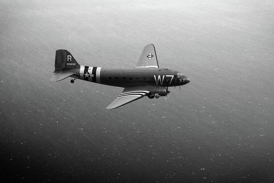 C-47 Skytrain over the Channel BW version by Gary Eason