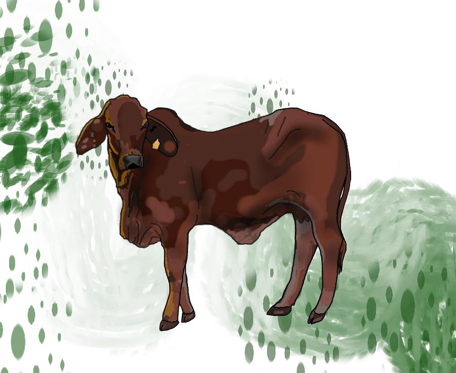 Stratton Digital Art - C Is For Cow by Joan Stratton
