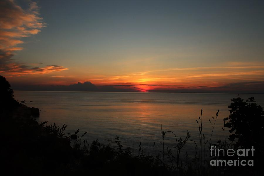 Sunset On Long Island Sound In Greenport by Karen Silvestri