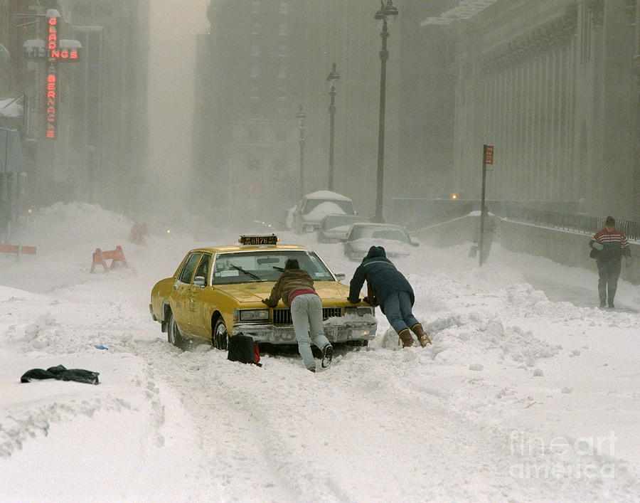 Cab Driver Pushes His Taxi Cab After Photograph by New York Daily News Archive