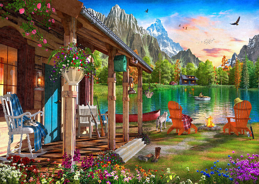 Cabin Painting - Cabin Porch View by Dominic Davison