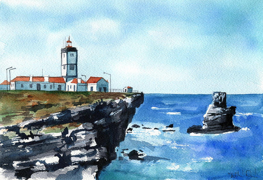 Cabo Carvoeiro Lighthouse in Peniche Portugal by Dora Hathazi Mendes