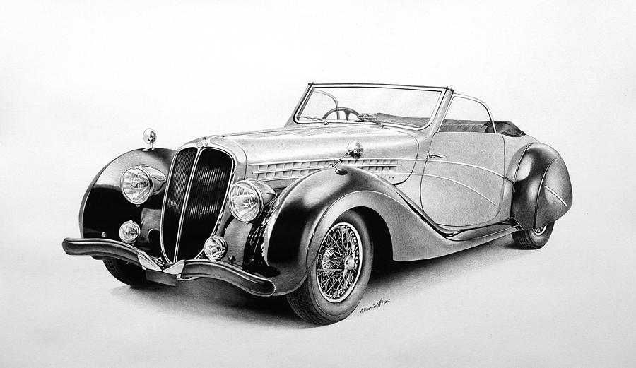 Automobile Drawing - Cabriolet - Ballpoint Pen Art by Andrey Poletaev