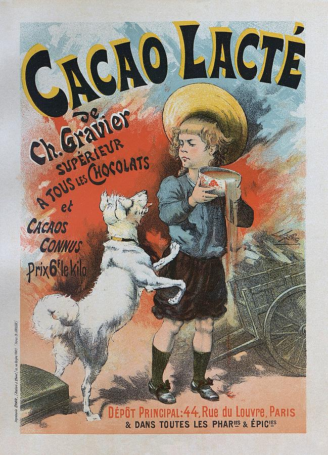 1893 Painting - Cacao Lacte, 1893 French Vintage Poster by Lucien Lefevre