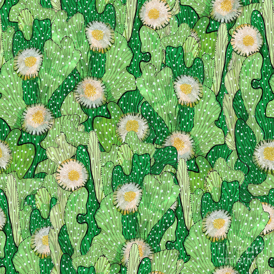 Blooming Succulents Mixed Media - Cacti Camouflage, Floral Pattern by Julia Khoroshikh