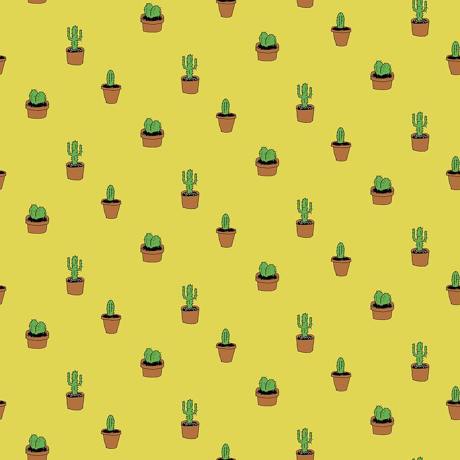 Cacti Digital Art - Cacti on yellow by Konstantin Bibikov