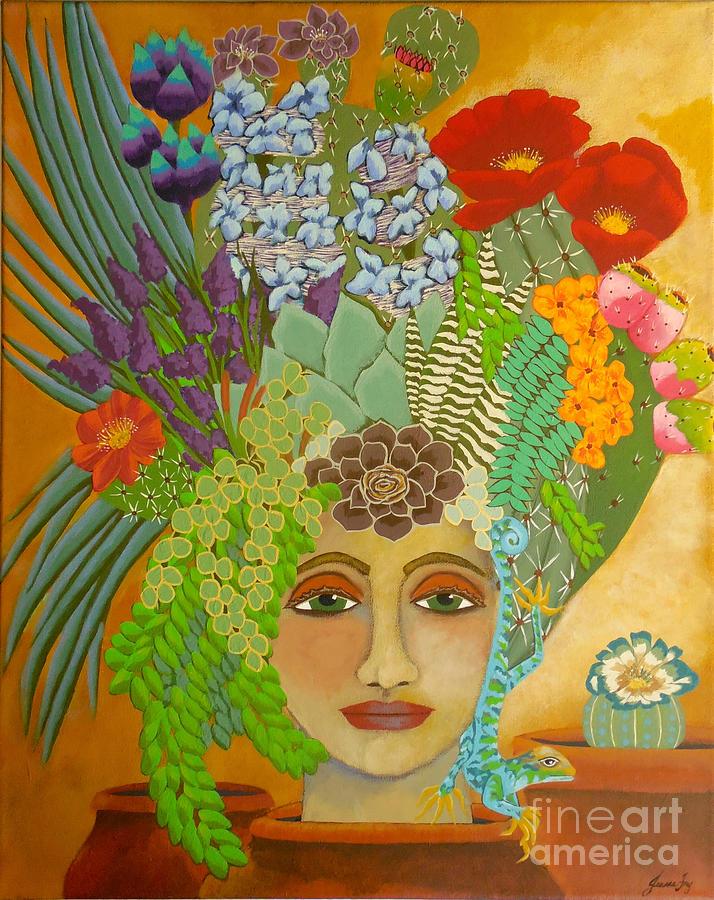 Cactus Blooms in Terracotta by Jean Fry