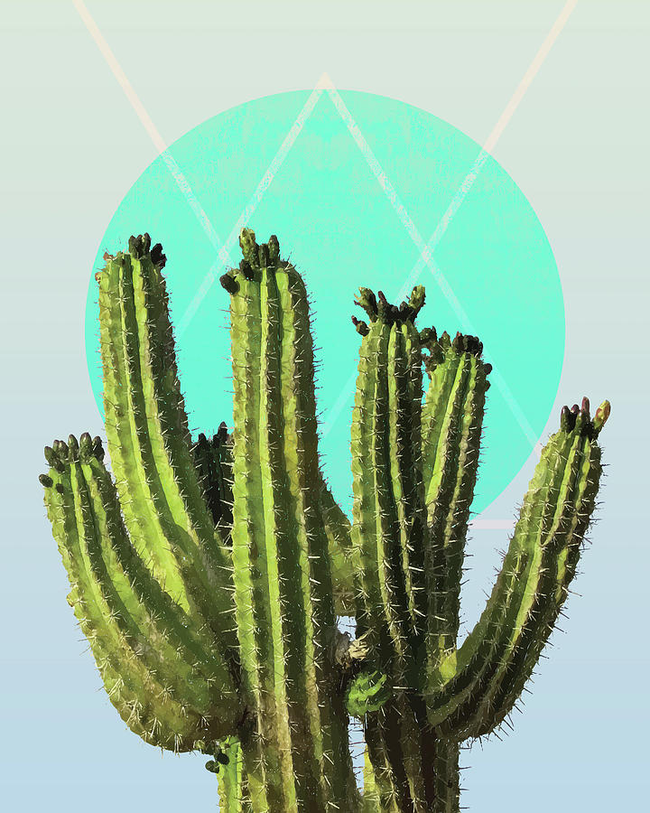 Cactus - Minimal Cactus Poster - Desert Wall Art - Tropical, Botanical - Blue, Green - Modern Mixed Media