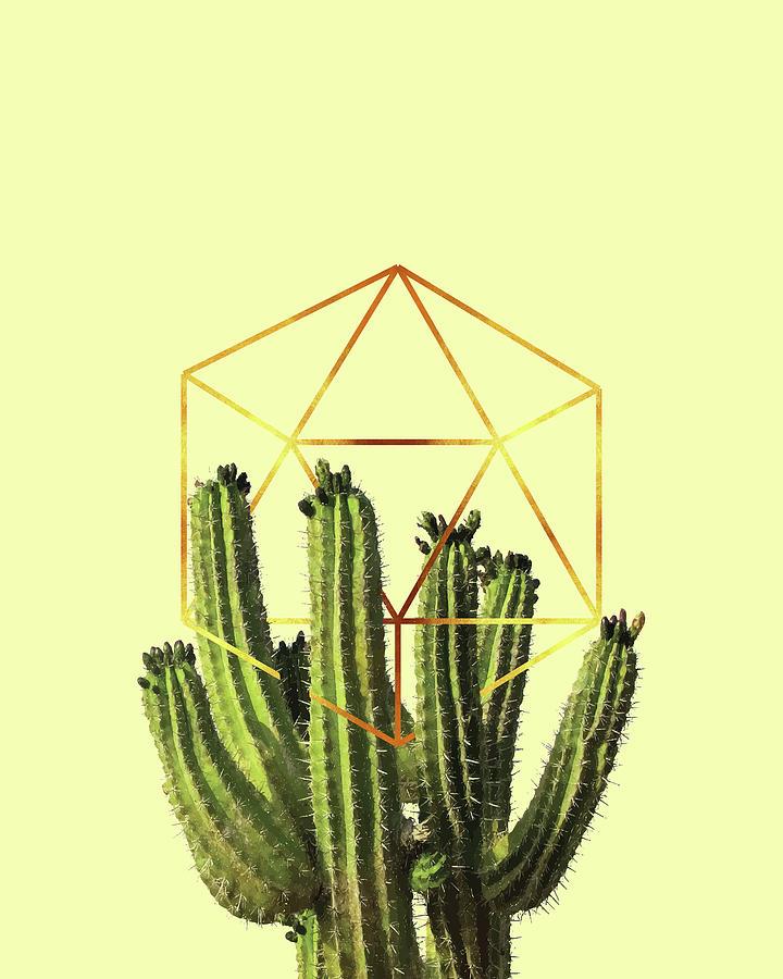 Cactus - Minimal Cactus Poster - Tropical Print-  Botanical - Beige, Gold, Green - Modern, Minimal Mixed Media