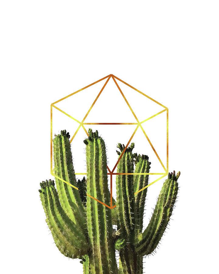 Cactus - Minimal Cactus Poster - Tropical Print-  Botanical - White, Gold, Green - Modern, Minimal Mixed Media