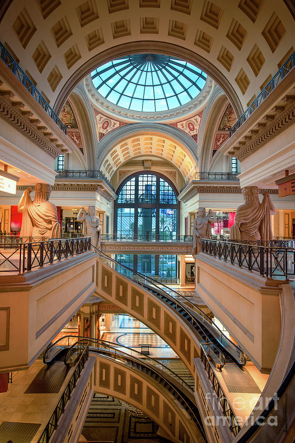 Caesars Palace Forum Shops Staircase From The 3rd Story by Aloha Art