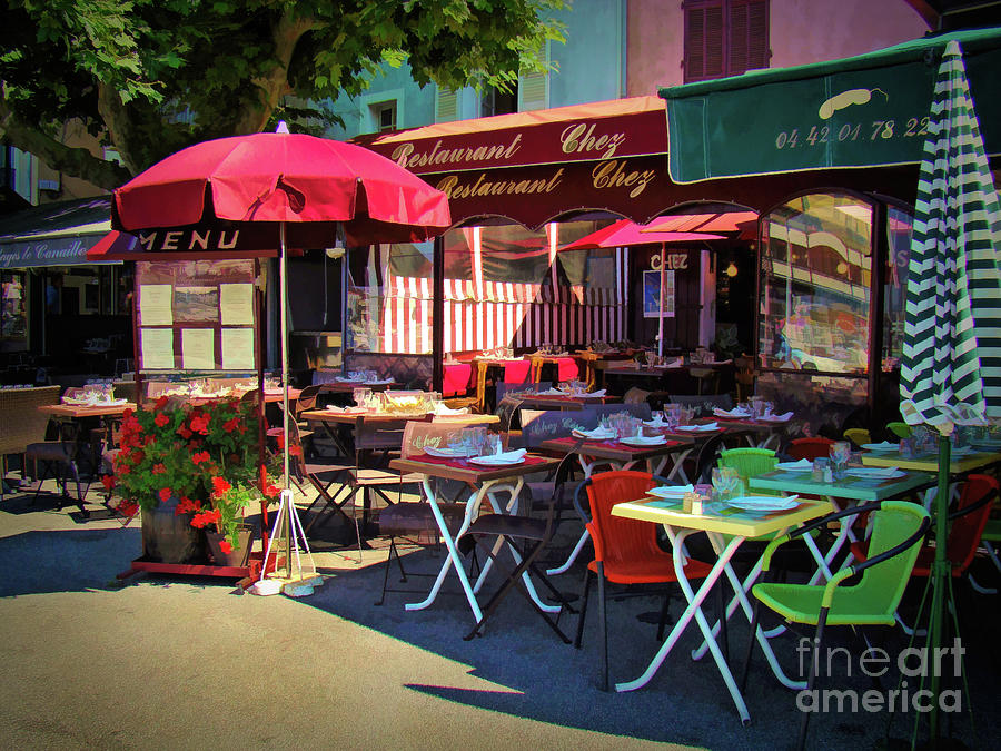 Cafe Scene in France by Sue Melvin