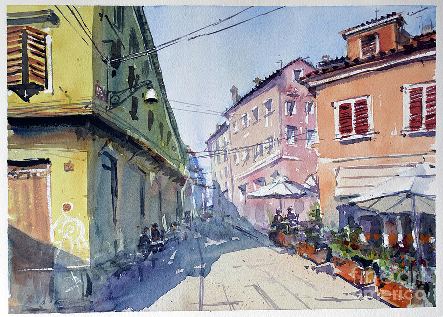 Italy Painting - Cafe street in Italy by Igal Kogan
