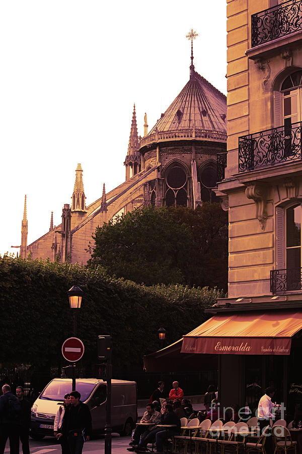 Cafe View Notre Dame Paris  by Chuck Kuhn
