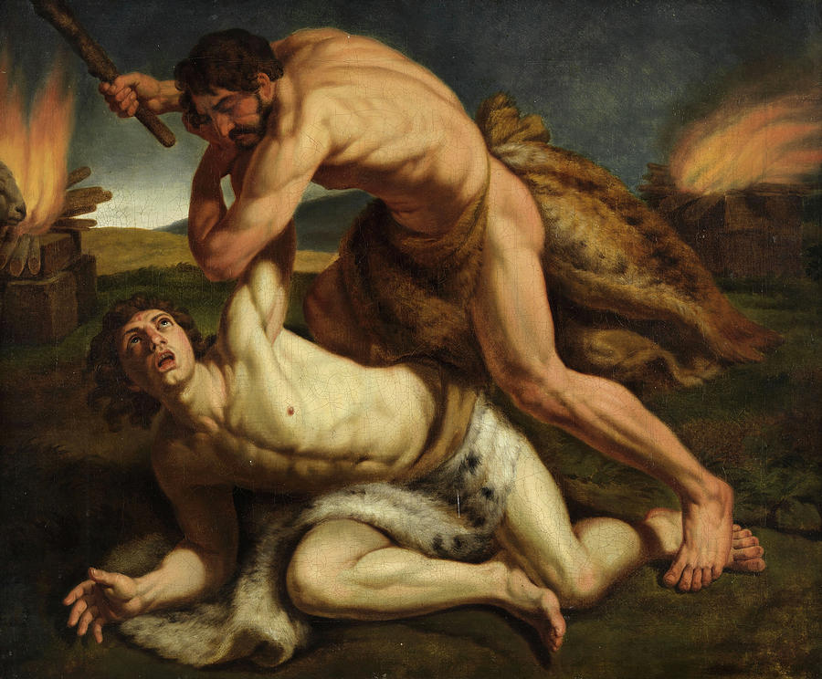 Cain killing Abel Painting by Unknown 19th century