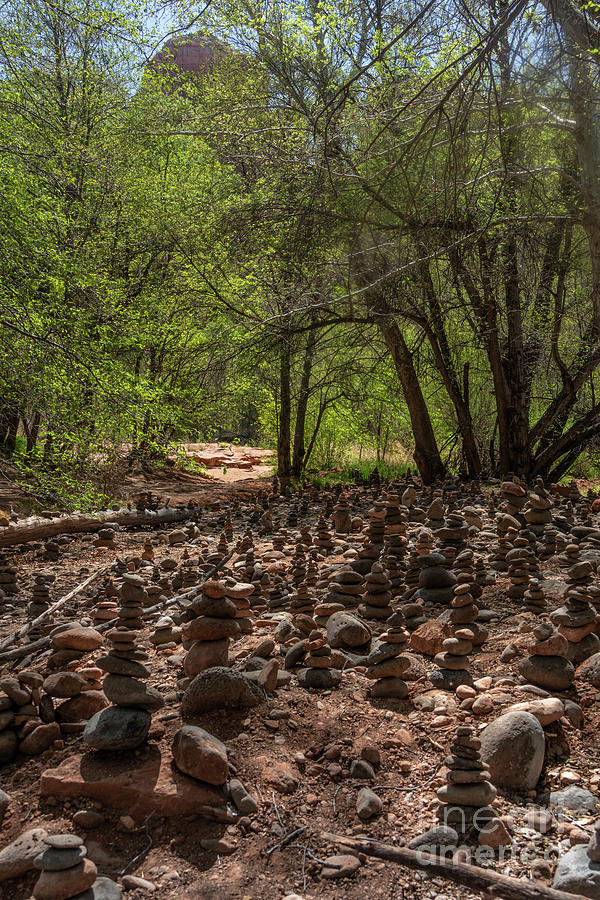 Cairns at Buddha Beach in Oak Creek Canyon  by Garry McMichael