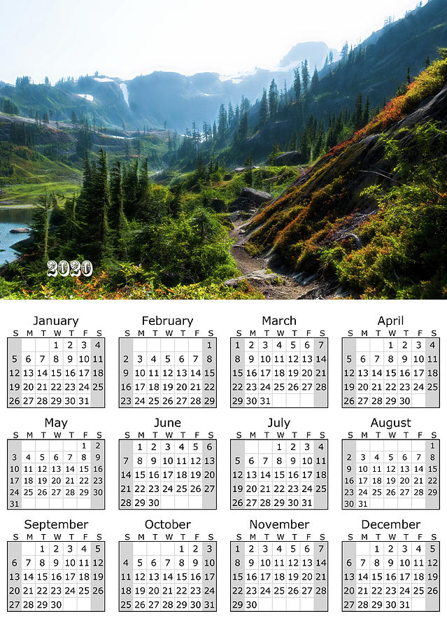 Calendar full year 2020 Mountain Trail Pacific Northwest by Yulia Kazansky