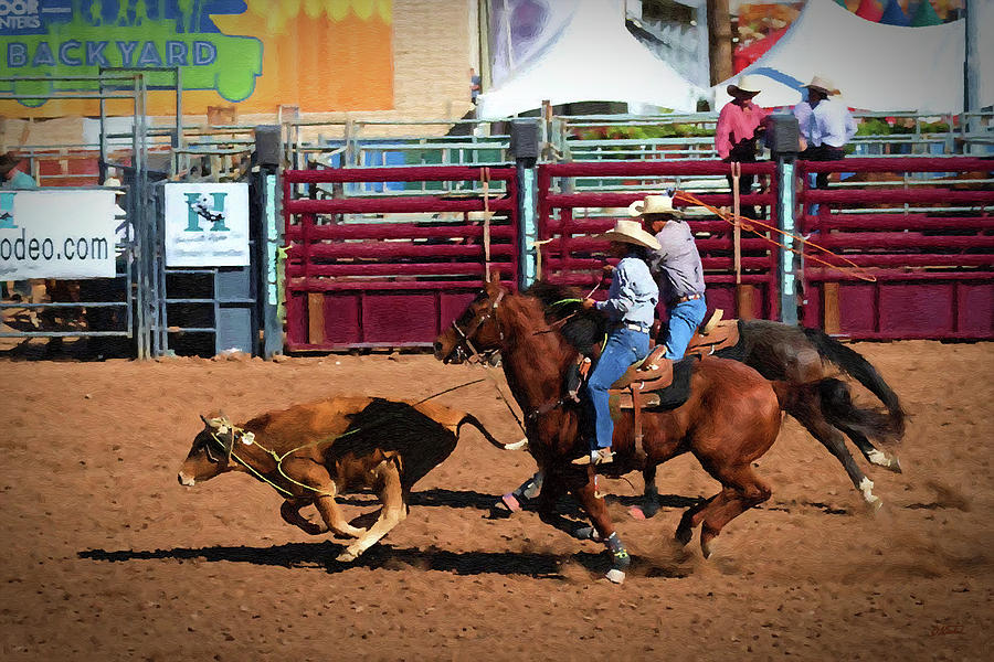 Calf Roping - DWP1900733 by Dean Wittle